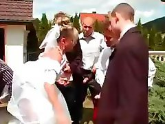 Bride gets fucked by groom's buddies and showered with cum