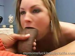 Blonde Flower Tucci chokes on a huge black cock and fucks it