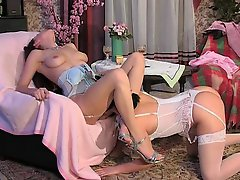 Lovely girls have intimate celebration worshipping nylons and teasing slits