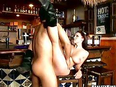 Busty Gianna Michaels Lays on the Bars Counter to Get Fucked Hard