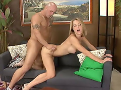 Busty slut Brenda James gets fucked from behind before riding cock