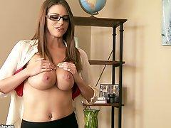Cute secretary fucks her boss to get a promotion
