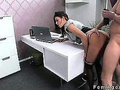 Busty female agent fucked leaned on desk in office
