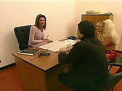 Blond And Tranny Go At It In The Office