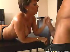 InsaTiable milf Kayla Synz deepthroating a long big hard shaft in the table