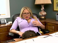 Horny office fuck with busty blonde