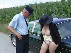 Sex-frenzied rich granny gets romped by her driver and a passer-by
