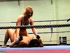 This weeks bitchy catfight features Lisa Sparkle vs. Linda Ray. Slowly they approach each other in the boxing ring and the ferocious fight over submission starts. When theyre already nude, Linda manages to sit on Linda, but afterwards she loses dominance and Linda gets on top. The rough grappling ends up in cunt licking and fingering...
