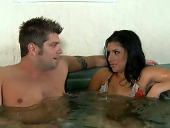 Whorish Mexican bitch Sativa Rose bathes in a spa with her man