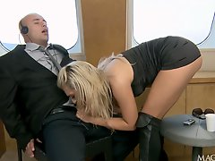 Tight ass and wet mouth are going to be fucked by an office guy