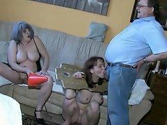 Sub chick sucks dick as granny masturbates