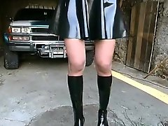 Tied up lady has dissolute outdoors