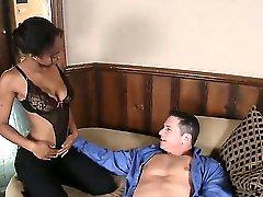 Stud boss John Strong asks his secretary to satisfy him after work if she wants to be promoted. Thats how horny ebony takes it deep and wild, choking with huge dick.