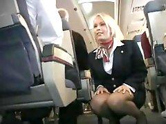 Stewardess fucked back by the food