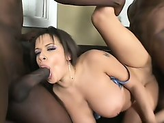 Foxy Alexis Silver gets herself a chocolate pounding in a hot threesome