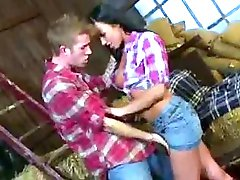 Hot brunette whore on a farm with the dude and his huge cock
