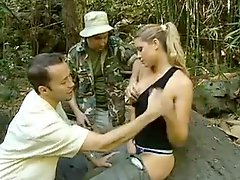 Monica Sweetheart with two guys in the woods
