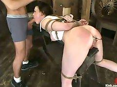 James Deen pushes massive dick in tied up Dana DeArmonds wet pussy
