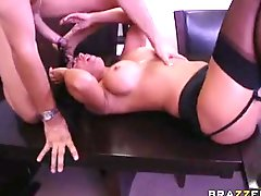 Sexy sexy Lezley Zen receives her bald pussy boned hard by a monster boner