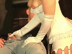 Perfect satin lingerie girl gives a handjob