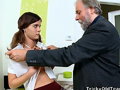 Nice girl with pigtails gets fucked by her old teacher