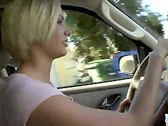 Youthful Blonde Babe sticks vegetable up her love tunnel in car