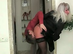 Blonde mom dressed in sexy lingerie is satisfied