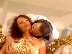Chick in shiny gold clothes pounded hard