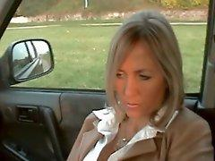 Allas nylon footjob into the car