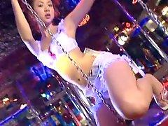 Delightful jap babe Aki Hoshino performs dance at the night club