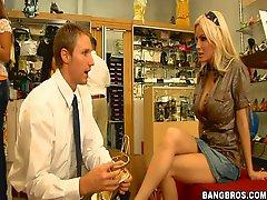 Blonde Milf Rides A Shoe Store Employees Hard Cock