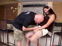 Hot brunette shemale came on casting and blows cock