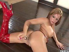 Nasty Tory Lane playing with glass dildo in her 2 taut holes
