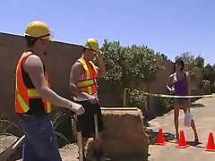 Tory Lane double teamed by the road crew
