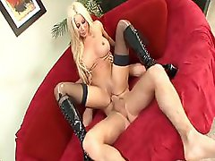 Busty Gina Lynn has nice tits and sucks and fucks on couch