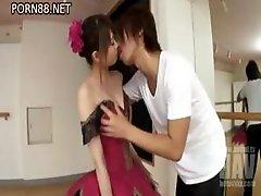 Hot Japanese babe Ririka Suzuki gets on her knees to suck cock