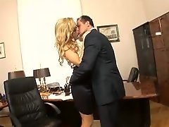 Office girl in gorgeous blouse sucks cock