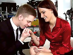 Exquisite redhead lady Lyen Parker came for an anal casting and she looks great in her office style dress