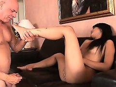 Wonderful Asian chick has a horny old man pounding her tight pussy