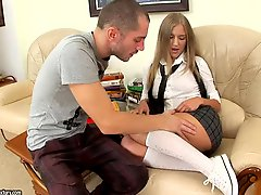College girl in white socks gets slammed in the ass