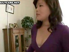 Naughty Asian housewife gets her hairy bush toyed and banged