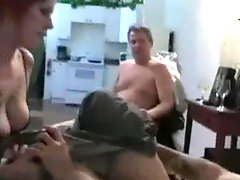 Husband watches wife suck younger mans cock