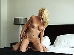 Riley Steele gets cum on her face after cock riding and sucking