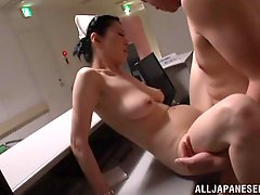 A mature Japanese nurse gets fucked by a patient