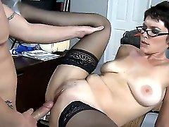 Short haired teacher Charlie James with large natural boobs looks so strict and respectable but a hot fire always burns in her wild slutty soul. In this clip she remains with her student Jenner alone in the classroom.