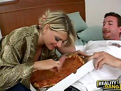 Cock avid Vicky Vette feeds her obscene mouth with her lovers biggest sausage