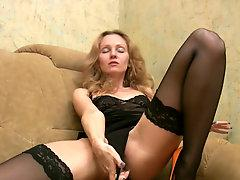 Skinny curly blondie Lada masturbates being alone at home