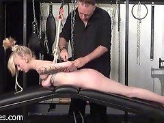 Blonde Weekays amateur suspension bondage