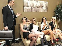 Four Hot big-boob office sluts fuck boss big-dick in office orgy