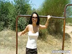 Brunette Asa Akira is in Spain blowing and getting banged outside